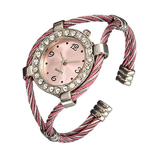 Stahl Strass Uhr gedrehtes Band Armband Armbanduhr Silver Pink