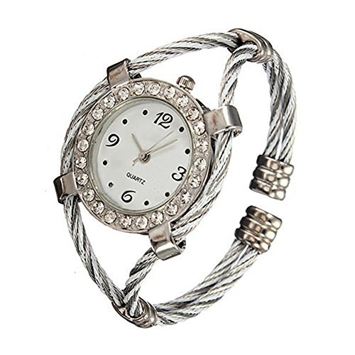 Stahl Strass Uhr gedrehtes Band Armband Armbanduhr Silver White