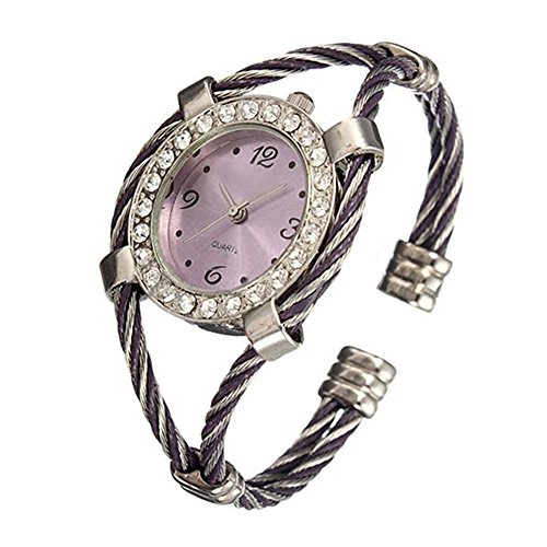Stahl Strass Uhr gedrehtes Band Armband Armbanduhr Silver Purple