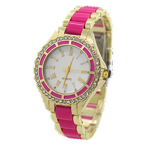 Damen Quarz Uhr Roman Strass Gold Legierungsarmband Analog Armbanduhr Rosarot