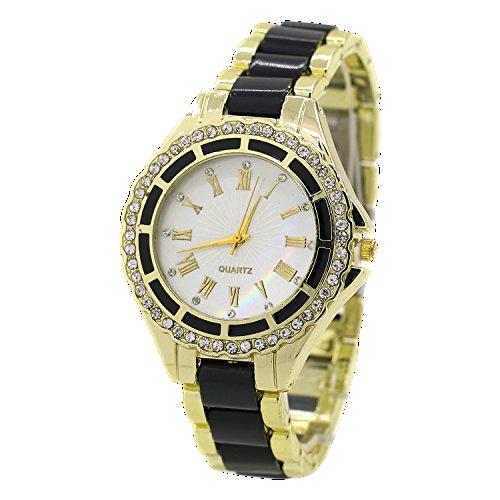 Damen Quarz Uhr Roman Strass Gold Legierungsarmband Analog Armbanduhr Schwarz