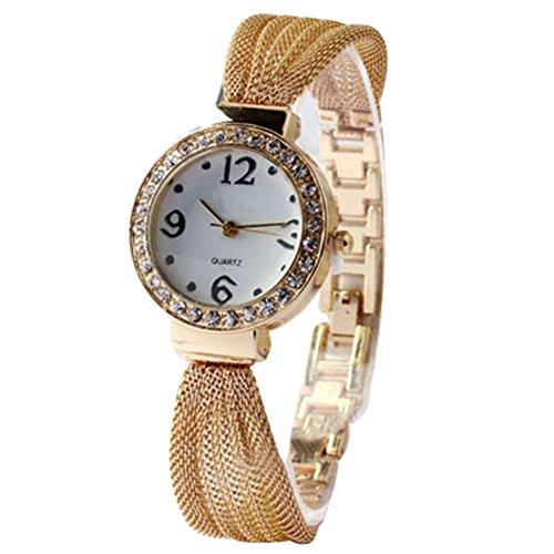 Damen Strass Netzband Armreif Uhr Quarz Gold