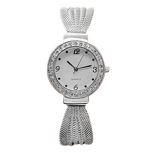 Damen Strass Netzband Armreif Uhr Quarz Silber