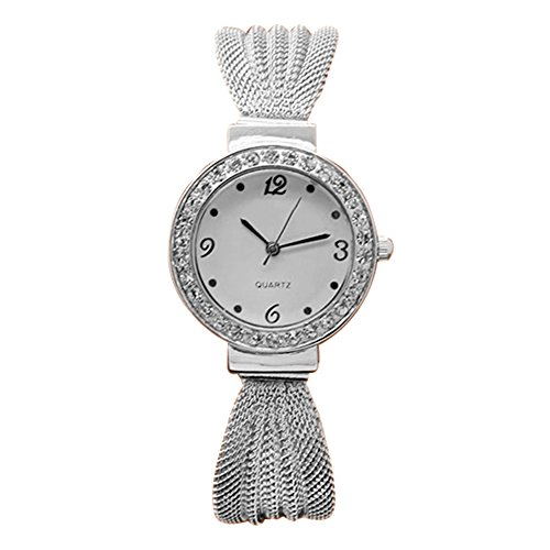 Damen Strass Netzband Armreif Uhr Quarz Analog Armbanduhr Silber