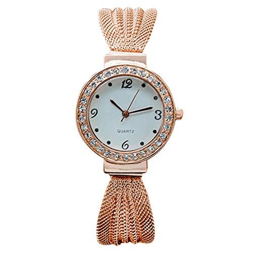 Damen Strass Netzband Armreif Uhr Quarz Analog Armbanduhr Rosagold