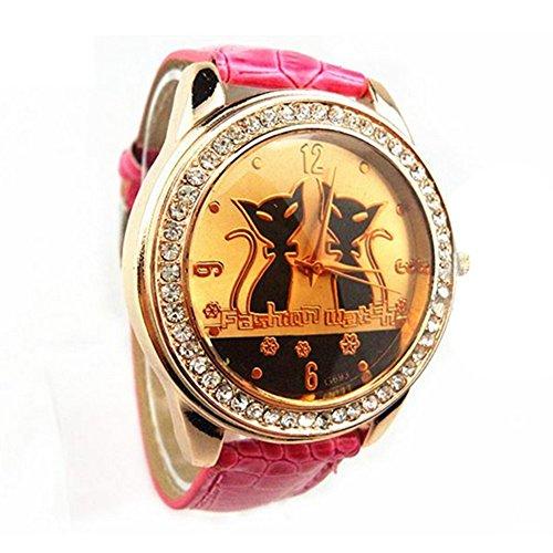 Strass schwarze Katzen Cats Dekoration Armbanduhr Rosarot