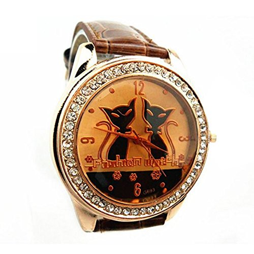 Strass schwarze Katzen Cats Dekoration Armbanduhr Kaffee