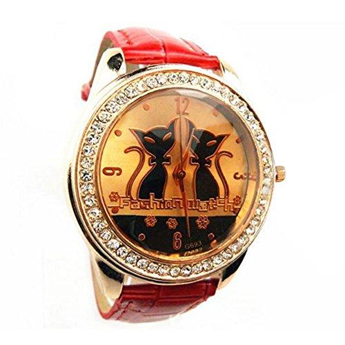 Strass schwarze Katzen Cats Dekoration Armbanduhr Rot