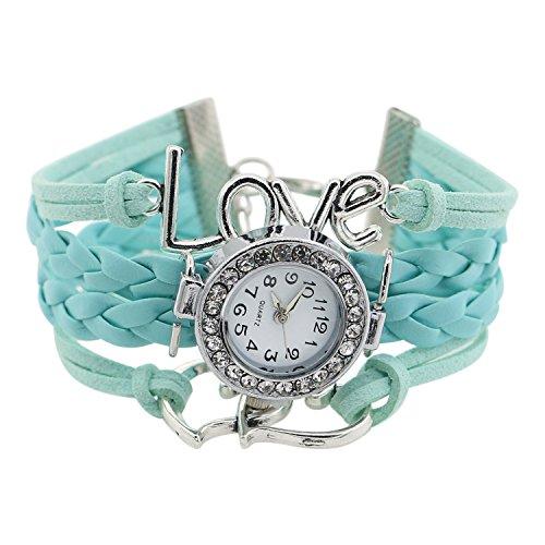 Maedchen Stricken Kunstleder Band Liebes Herz Charment Glass Armbanduhr Hellblau