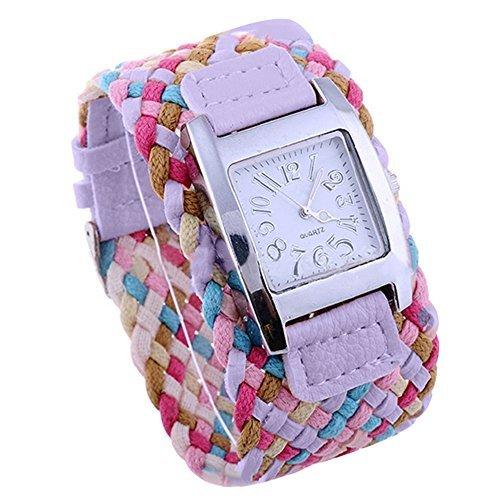 Bunte suessige Uhr Dame mit geflochtenem Band Geschenk Purpur