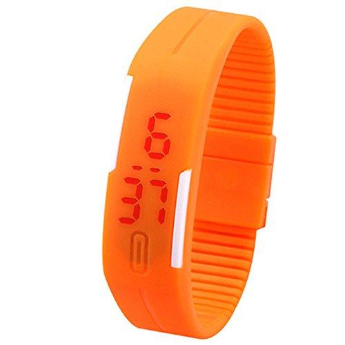 Unisex Rot LED Digital Touch Screen Bildschirm Uhr Silikon Sport Armband Uhr fuer Maenner und Frauen Orange