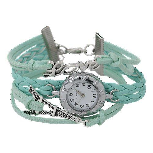 Damen Wunderschoenes Eiffelturm Love Welt gefolchtenen Seil Kunstleder Band Wickeln Armreifuhr Armbanduhr Hellblau