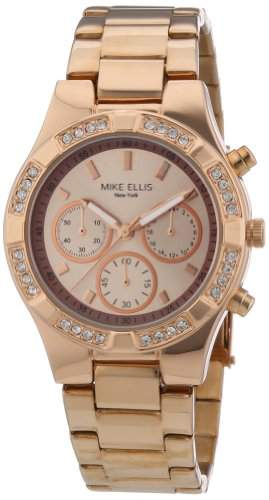 Mike Ellis New York Damen-Armbanduhr Analog Quarz Edelstahl beschichtet L2698ARM