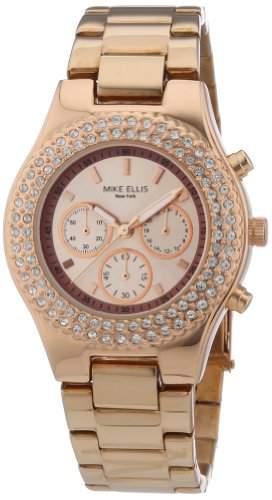 Mike Ellis New York Damen-Armbanduhr Analog Quarz Edelstahl beschichtet L2970ARM