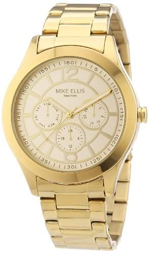 Mike Ellis New York Damen-Armbanduhr Analog Quarz Edelstahl beschichtet M2756AGM1