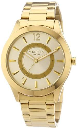 Mike Ellis New York Damen-Armbanduhr Analog Quarz Edelstahl beschichtet M2756AGM