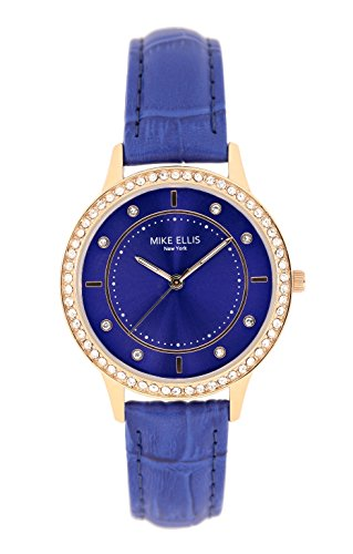 Mike Ellis New York Damen Armbanduhr Blue Line Analog Quarz Leder SL5612A1