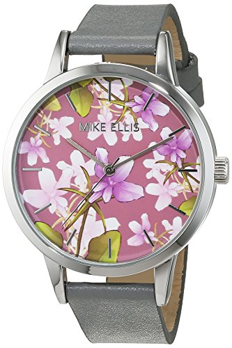 Mike Ellis New York Damen Armbanduhr La Fleur Analog Quarz Leder SL4310B8