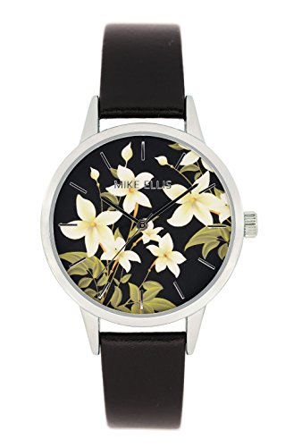 Mike Ellis New York Damen Armbanduhr La Fleur Analog Quarz Leder SL4310A8