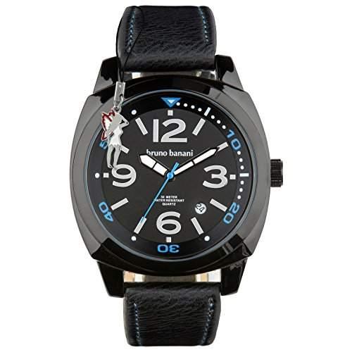 Bruno Banani Herrenuhr Ketos Leder-Armband schwarz Quarz-Uhr Ziffernblatt schwarz D1UBR30020