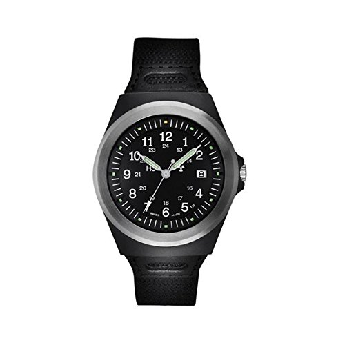 Traser P5900 506 33 11 Herren schwarz Lederband schwarzes Zifferblatt TYPE 3 TRITIUM taktische Uhr