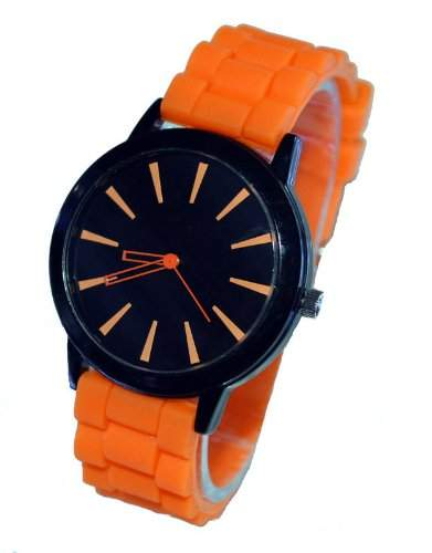 Orrorr orange -Silikon-Gummi Jelly Jel -Band-Sport Unisex Damen Herren Analog Quarz-Armbanduhr