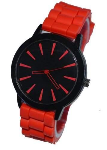 Orrorr Red -Silikon-Gummi Jelly Jel -Band-Sport Unisex Damen Herren Analog Quarz-Armbanduhr