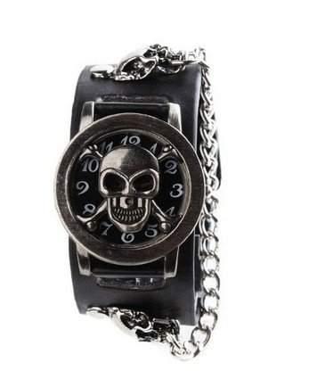 Orrorr Mode Herren Skeleton Leder Punk -Band Unisex- Armband-Armbanduhr