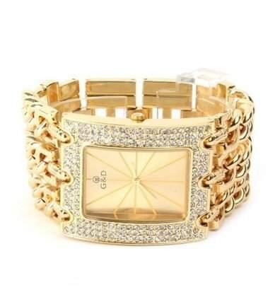 Orrorr Frauen Mode Goldene Kette Strass Silber Stahl Dial -Maedchen -Quarz-Armbanduhr