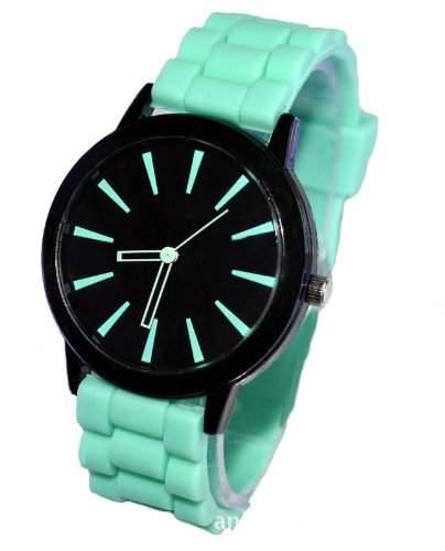 Orrorr Mint Green Silikon-Gummi Jelly Jel -Band-Sport Unisex Damen Herren Analog Quarz-Armbanduhr