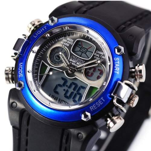 Orrorr AMPM24 Oshen Blau Datum Tag Alarm M??nner -Digital-Sport -Armbanduhr OHS017