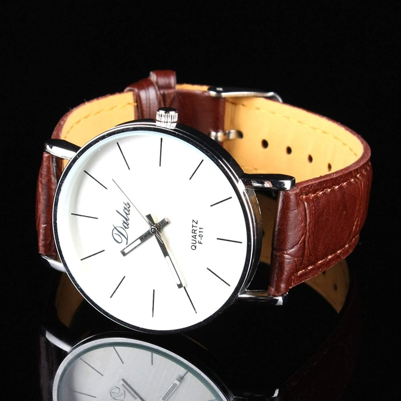 Orrorr?Fashion Style Unisex Einfache Stlye Quarz-Sport -Uhr PU- Leder-Armbanduhr Braun