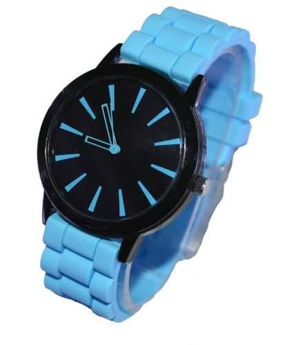 Orrorr Light Blue -Silikon-Gummi Jelly Jel -Band-Sport Unisex Damen Herren Analog Quarz-Armbanduhr