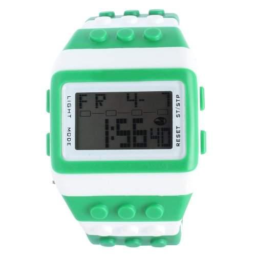 Orrorr shhors Neue Sport Digital LED Binary Watch Lego Block Armbanduhr Damenuhr Gruen