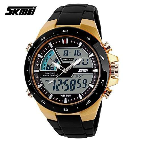 OrrOrr SKMEI Dual LED Digital Armbanduhr Herrenuhr Quarzuhr Sportuhr Datum Uhr Watch GOLD