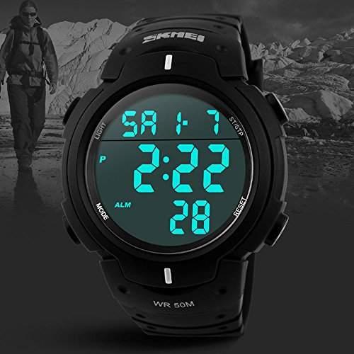 OrrOrr SKMEI Damen Herren Unisex Armbanduhr LCD Multifunktions Schrittzaehler 3D Sport Armband Uhr Pulsuhr Child Watch Quarzuhr - Schwarz