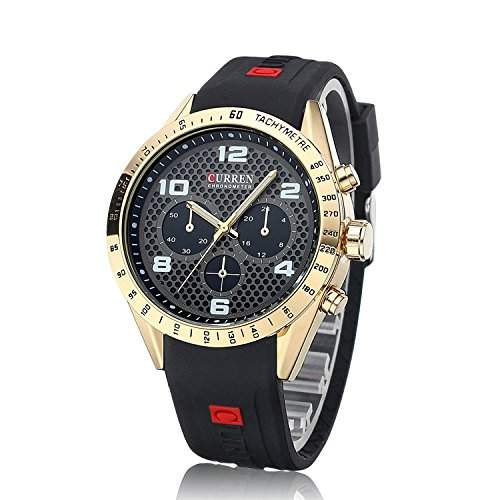OrrOrr Curren Uhr Gummi Armbanduhr Quarzuhr Sport Herrenuhr Herren Uhr Damenuhr Unisex Geschenk Xmas Gift watch gold