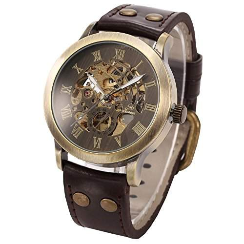 OrrOrr Herrenuhr Automatik Uhr Skelettuhr Kunstleder Armbanduhr mechanische Uhr braun