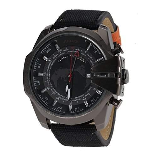 OrrOrr Punk PU Leder Uhr Big Dial Unisex Herrenuhr Uhren Analog Geschenk schwarz