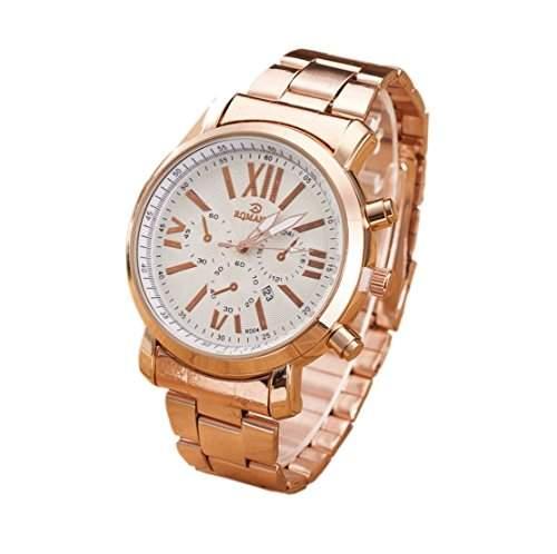OrrOrr Damenuhr Edelstahl Armbanduhr Datum Uhr Damenarmbanduhr ros¨¦gold wei?