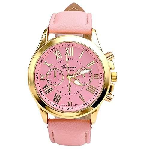 OrrOrr Uhren,Elegant Damen Candy R?misch Ziffern Chronograph Armbanduhr,Kunstleder Band Analog Qaurzuhr pink