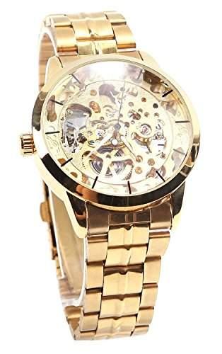 OrrOrr M?nner Gold Zifferblatt Mechanische Skeleton Automatic Herrenuhr Armbanduhr