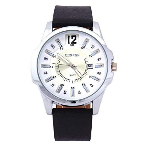 OrrOrr Herren Armbanduhr Echtes Leder Watch Quarz Uhr Sport Geschenk wei?