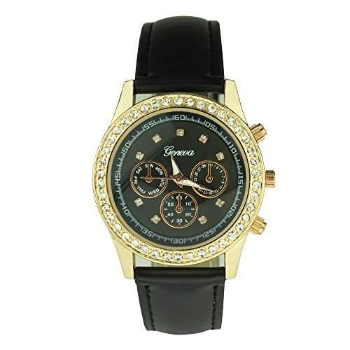 OrrOrr Uhren,Elegant Damen Candy Chronograph Armbanduhr,Silikon Band Analog Qaurzuhr Sportuhr schwarz