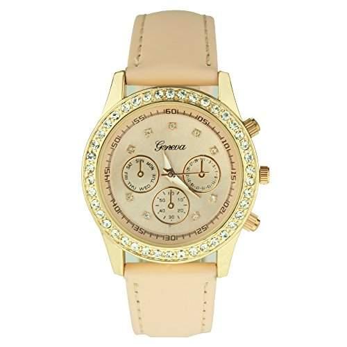 OrrOrr Uhren,Elegant Damen Candy Chronograph Armbanduhr,Silikon Band Analog Qaurzuhr Sportuhr beige