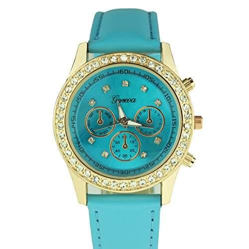 OrrOrr Uhren,Elegant Damen Candy Chronograph Armbanduhr,Silikon Band Analog Qaurzuhr Sportuhr blau