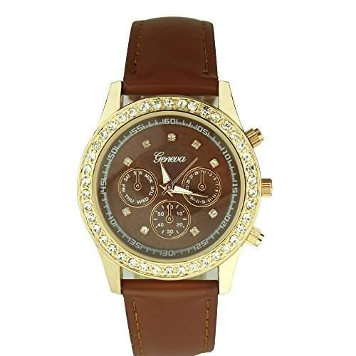 OrrOrr Uhren,Elegant Damen Candy Chronograph Armbanduhr,Silikon Band Analog Qaurzuhr Sportuhr braun