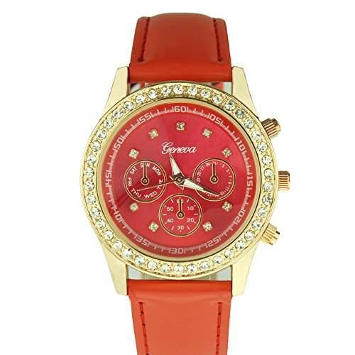 OrrOrr Uhren,Elegant Damen Candy Chronograph Armbanduhr,Silikon Band Analog Qaurzuhr Sportuhr rot