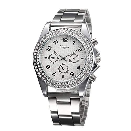 OrrOrr Edle Elegante Damenuhr Sportuhr Quarz-Armbanduhr mit funkelnden kleinen Strass, Silber