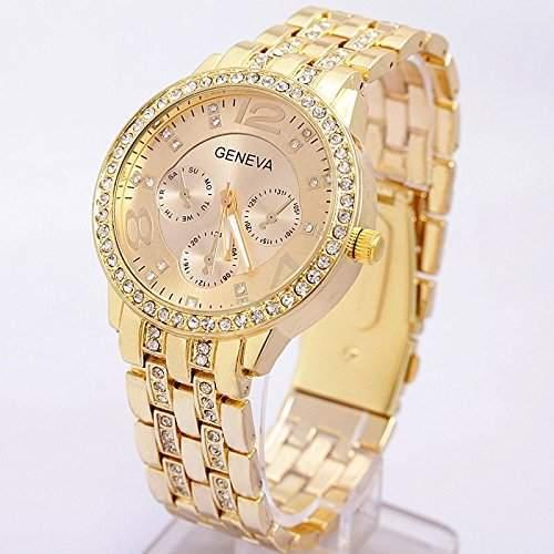 OrrOrr Uhren,Strassstein Design unecht in Chronograph Optik Unisex Armbanduhr,Klassisch Edelstahl Panzerarmband Damen Herren Quarzuhr Sportuhr Gold